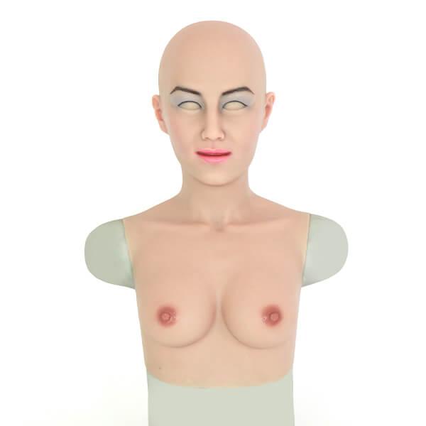 ROANYER 男の娘 女装マスク 人工乳房 仮面&偽乳カバー 美陽子