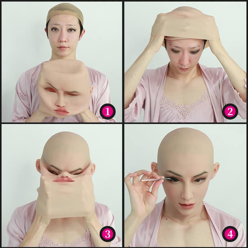 ROANYER 女装 仮面 変装 マスク 男の娘  メイク  仮装 シリコン仮面 美人安ちゃん